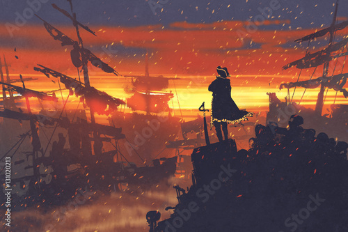 Photo pirate standing on treasure pile against ruined ships at sunset,illustration pai