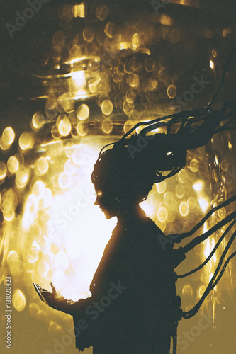 futuristic female robot silhouette on golden light background,illustration painting