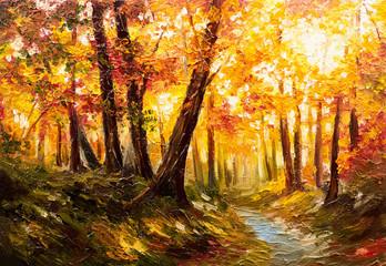 Fototapeta Oil painting landscape - autumn forest near the river, orange leaves