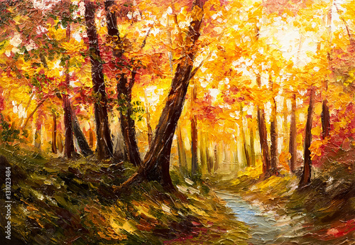Tuinposter Honing Oil painting landscape - autumn forest near the river, orange leaves