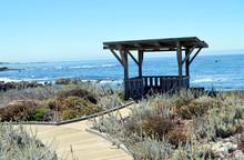 Gazebo On On Asilomar State Beach Overlooking  Surf On The Monterey Bay