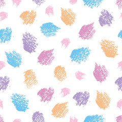 FototapetaVector seamless pattern with oil pastel round design elements on the white background. Pink, blue, violet and orange abstract textured brushstrokes in sketch style. Hand drawn art element.