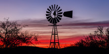 """""""Tombstone Twilight"""" Traveling To Tombstone, Arizona On A Cool December Morning.  The Silhouette Of This Windmilll Stood Out Beautifully Against The Twilight Sky."""