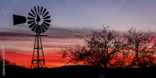 """Arizona Twilight"" Traveling to Tombstone, Arizona on a cool December morning.  The silhouette of this windmilll stood out beautifully against the twilight sky."