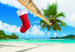Red Christmas sock on palm tree at tropical ocean beach.