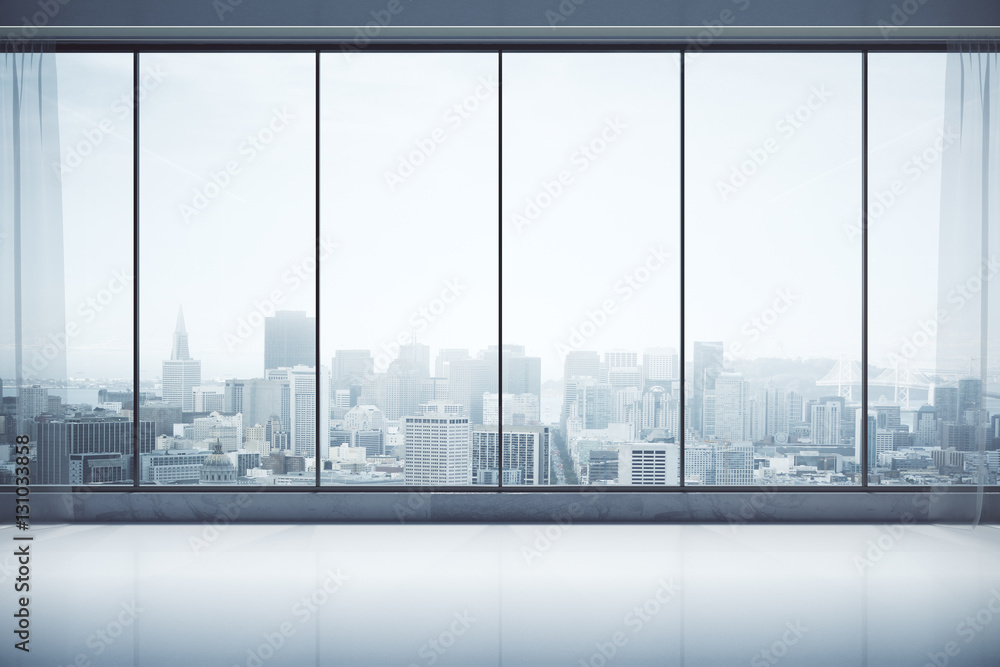 Fototapety, obrazy: Contemporary interior with city view