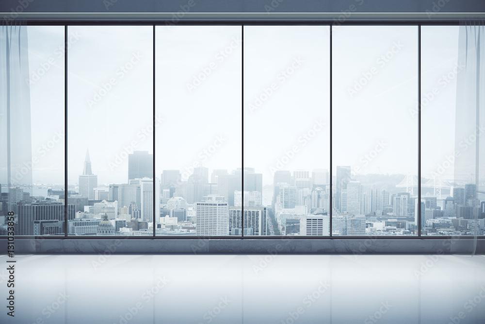 Fototapeta Contemporary interior with city view