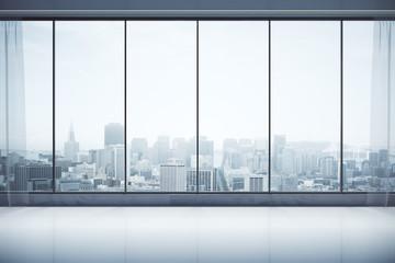 Fototapeta na wymiar Contemporary interior with city view