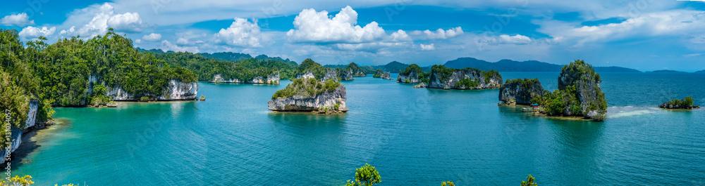 Fototapeta Rocks Landscape in Kabui Bay near Waigeo. West Papuan, Raja Ampat, Indonesia