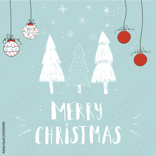 Wonderful And Unique Handwritten Christmas Wishes For Holiday Greeting Cards Illustration Of A Tree With Snow Lettering Great Design Element