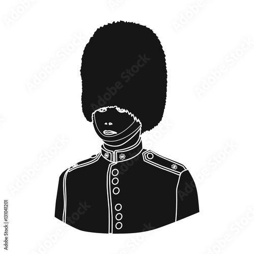 Photo  Queen's guard icon in black style isolated on white background