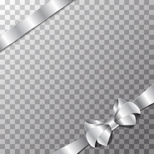 Elegant Holiday Silver Bow And Ribbon On Transparent Background.