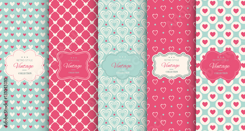 fototapeta na ścianę Pink heart seamless pattern background