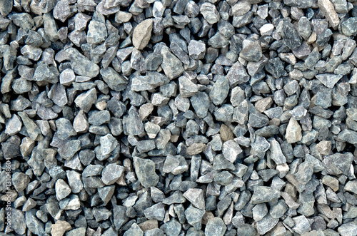 Photo aggregate - a stack of gravel / grit of glauconite sandstone, dark and light gray coarse stones, crushed and broken at a stone pit to similar sizes