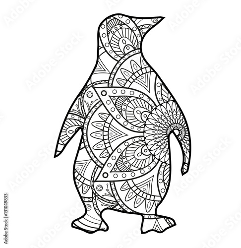 vector illustration of a black and white mandala pinguin