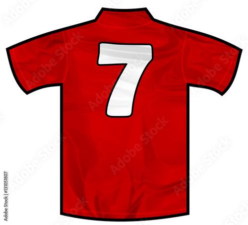 Fotografie, Obraz  Number 7 seven red sport shirt as a soccer,hockey,basket,rugby, baseball, volley or football team t-shirt
