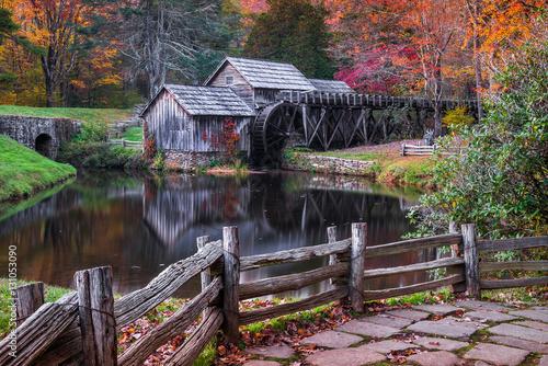 Mabry Mill, autumn scenic Wallpaper Mural
