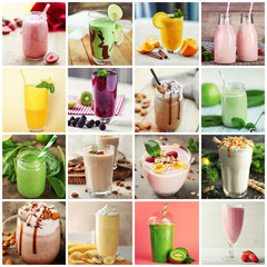 Fototapeta Do cukierni Collage of delicious cocktails
