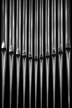 Organ Pipes Closeup In Black A...