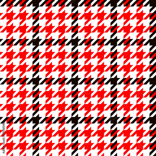 Photo  Houndstooth geometric plaid seamless pattern in black red and white, vector