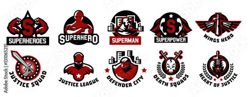 Fotografie, Tablou  Set of superhero logos