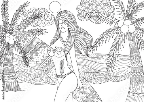 zentangle design of sexy girl holding