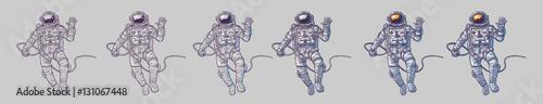 Carta da parati Vector set of illustrations cosmonauts