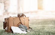 Vintage Bag And Equipment Traveler On Grass