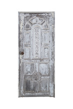 Old White Door Closed Isolated On White With Clipping Path.