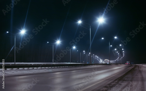 Photo sur Aluminium Autoroute nuit winter highway