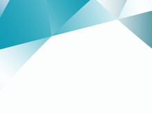 Abstract Fractal Background With Irregular Triangles Pattern In Teal And White Gradients. Text Space. For Business, Office, Industry, Technology And Computer Based Designs, Pamphlets, PC Background.