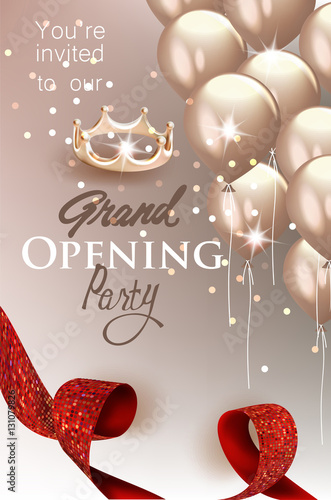 Elegant Grand Opening Invitation Card With Red Textured