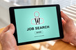 Job search concept on a tablet