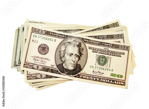 Fotografie, Obraz  Money cash. $20 dollar bills. Currency.