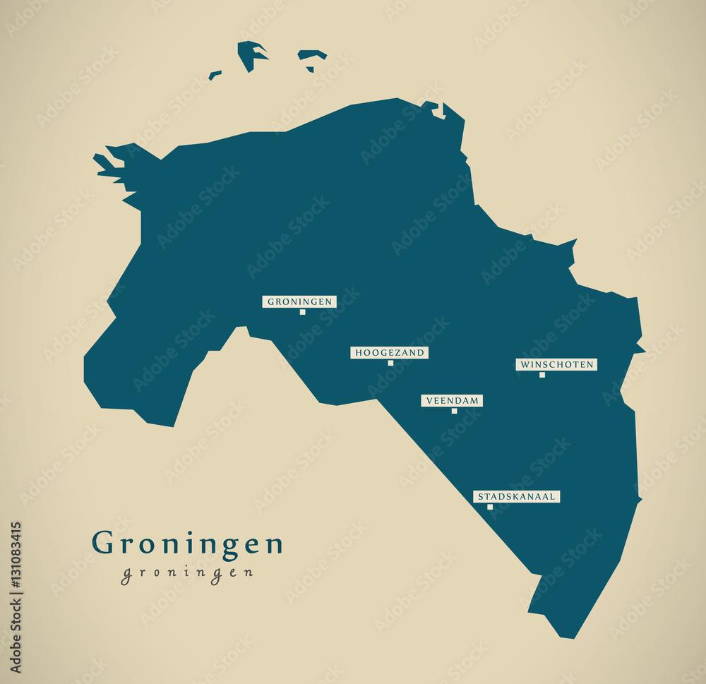 Modern Map - Groningen NL illustration Foto, Poster ...