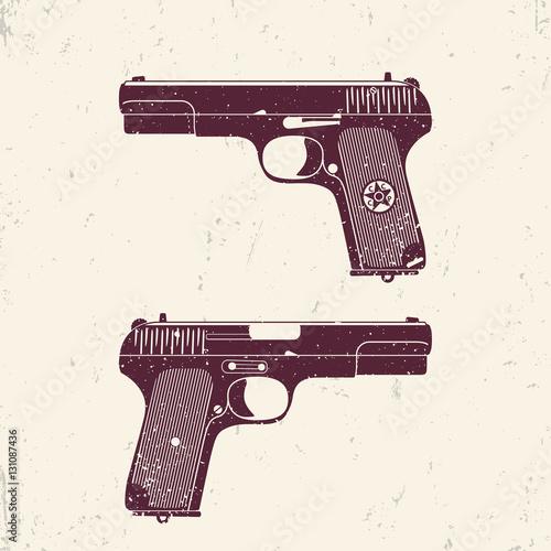 Poster  Old soviet pistol, world war 2 handgun with grunge texture
