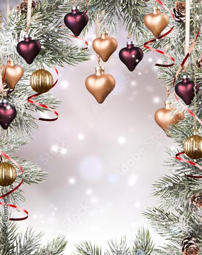 Fototapeta Christmas background with decoration ball , Red celebration balls on wooden board obraz na płótnie