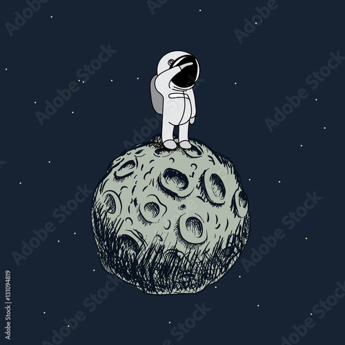 Fotografie, Obraz  Cartoon astronaut standing on the moon