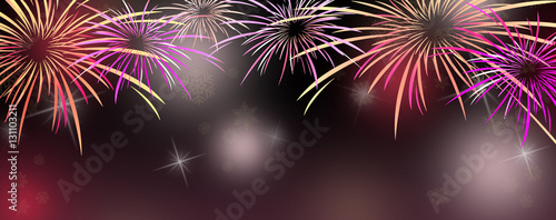 new year banner background with colorful pink and purple fireworks