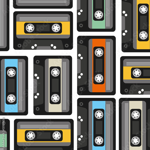 cassette pattern background icon vector illustration design