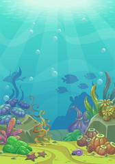 Fototapeta na wymiar Cartoon underwater vector illustration.