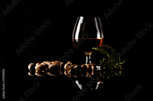 sherry glasses over a dark background with plenty of copy space