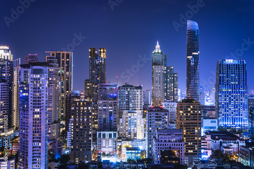 abstract night cityscape blue light filter - can use to display or montage on product