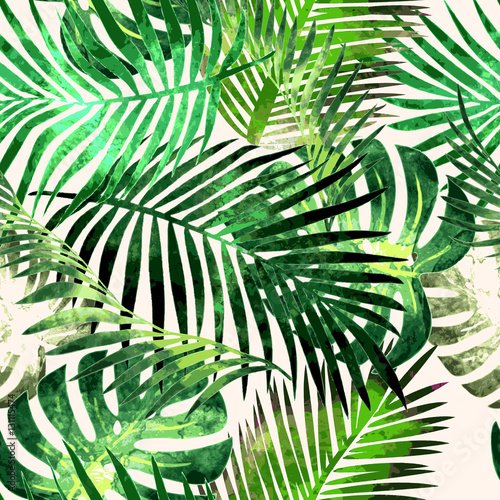 Foto  Tropical plants flowers seamless pattern