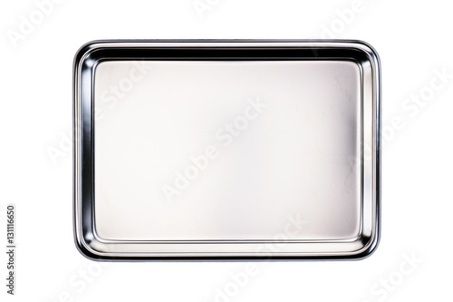 Stainless tray / Stainless tray on white background. Top view. Canvas Print