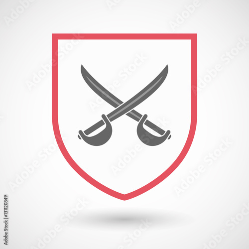 Isolated shield with two swords crossed - Buy this stock