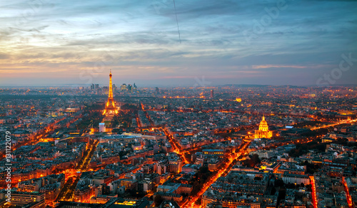 Photo sur Toile Paris Cityscape with the Eiffel tower