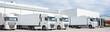canvas print picture - LKW - Spedition, vier geparkte weiße Sattelschlepper nebeneinander