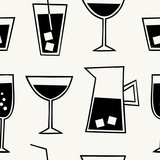 Modern seamless pattern with cocktail drinks in black and cream.