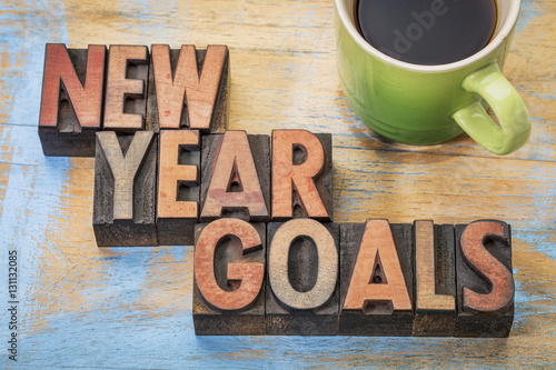 Fototapety, obrazy: New Year goals word abstract